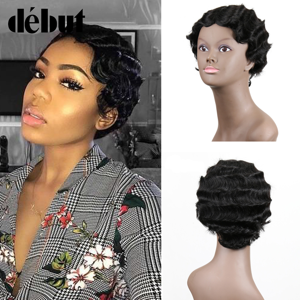 Debut Human Hair Wigs Brazilian Remy Short Human Wigs For Black Women Short Pixie Cut Wig Color Curly Human Hair Short Bob Wigs