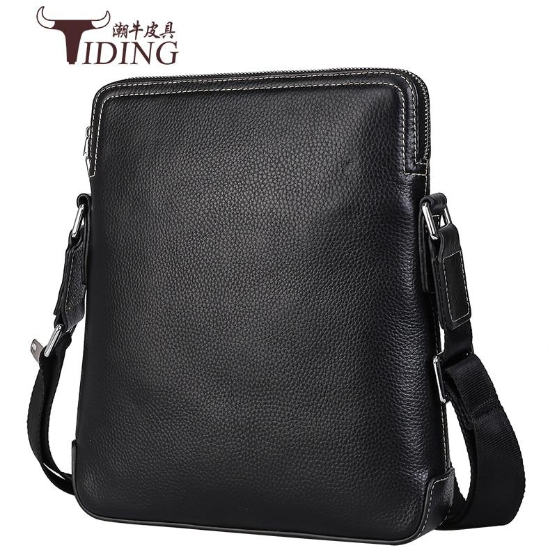 Mens Borse a Spalla Nero di Affari del Cuoio Genuino Casual di Modo Flap Crossbody Viaggio Messenger Bag Maschile
