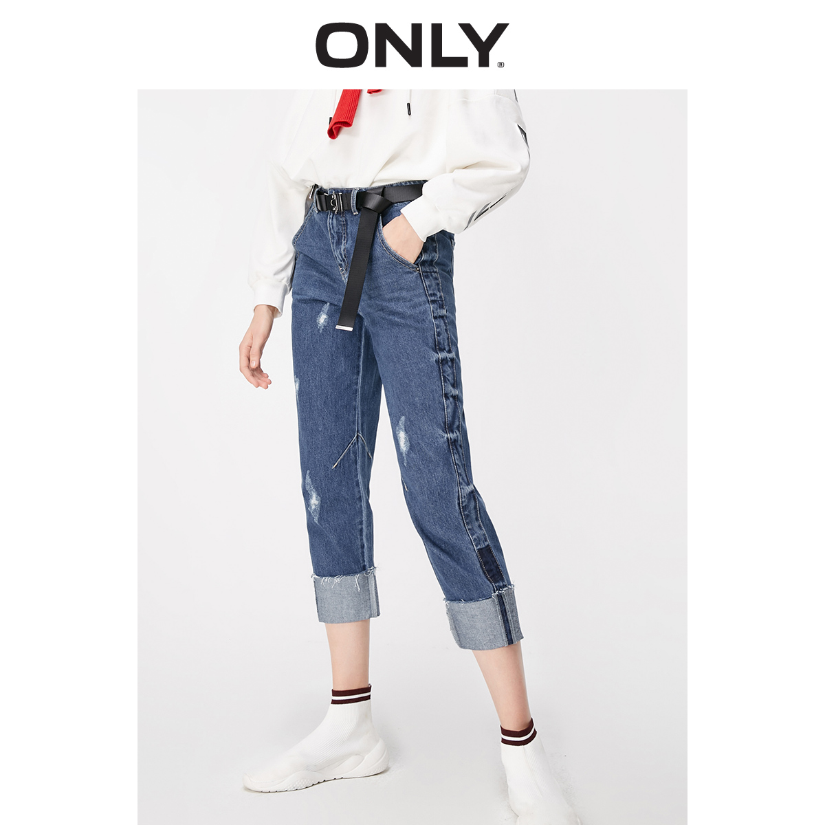 ONLY Women's 100% Cotton Loose Straight Fit Low-rise Crop Jeans | 119149606