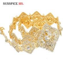 Sunspicems الفاخرة المغربي القفطان حزام للنساء كامل حجر الراين الخصر سلسلة معدنية قابل للتعديل طول دبي مجوهرات الزفاف 2020