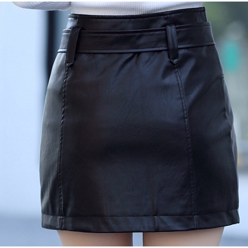 Leather High Waist Vintage A-Line Office Solid Mini Skirt 5