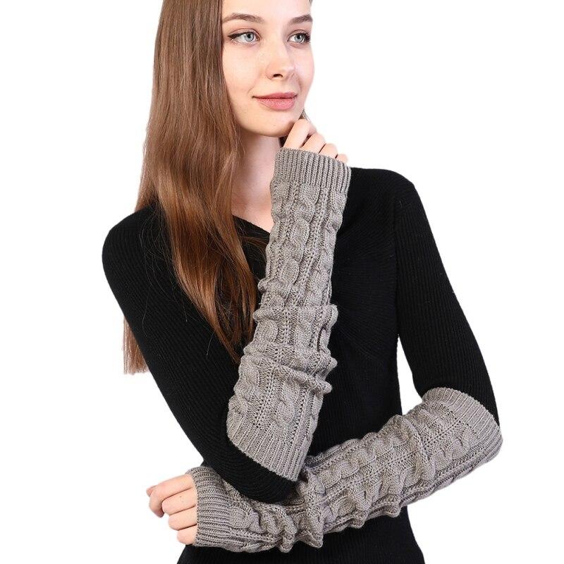 Women Autumn Winter Half-finger Wool Gloves Long Twist Knit Warm Arm Cover