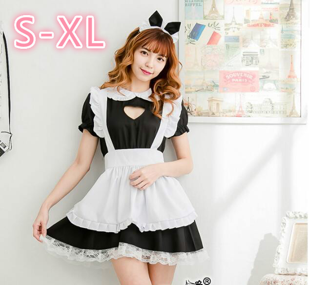 Cosplay Hollow Heart <font><b>Sexy</b></font> Sweet Lolita Dress Maid <font><b>Costume</b></font> <font><b>Anime</b></font> Cosplay Maid Uniform <font><b>Halloween</b></font> <font><b>Costumes</b></font> For Women image