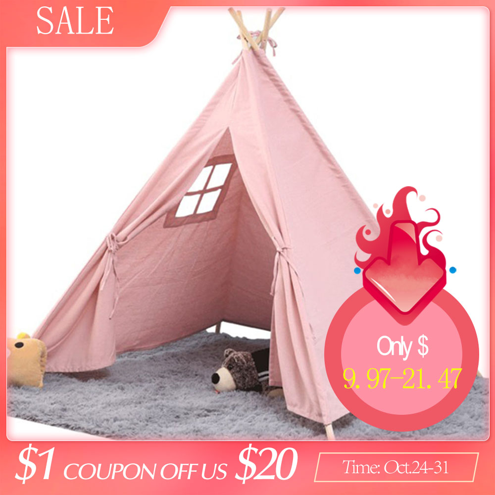 Baby Portable Cotton Canva Tipi Folding Indoor Children Tent Teepee Original Triangle Indian Kids Tent Wigwam Little Play House