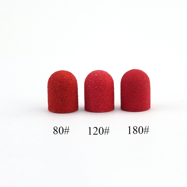 50pcs 10*15mm Red Nail Drill Accessories Pedicure Sanding Cap Foot Cuticle Milling for Manicure Pedicure Art Tools 1