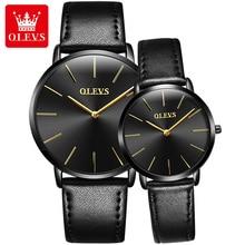 OLEVS Simple Ultra Thin Couple Quartz Wristwatch Men And Women Fashion Watch Leather Waterproof Casual Elegant Lover Clock 5868