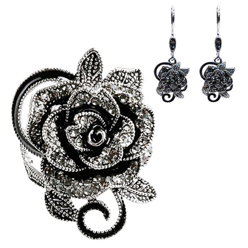 YWOSPX ผู้หญิงสีดำ/สีขาวหินเครื่องประดับชุด 925 สี Sliver Cubic Zircon ต่างหู + แหวนเครื่องประดับ