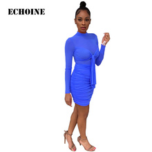 Echoine Sexy Lace Sheer Mesh Mini Dress Slim Bodycon Long Sleeve Evening Party Dresses Up Club Outfit Fold Vintage Vestidos