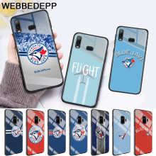 цена на Baseball Toronto Blue Jays Logo Glass Case for Samsung S7 Edge S8 S9 S10 Plus A10 A20 A30 A40 A50 A60 A70 Note 8 9 10