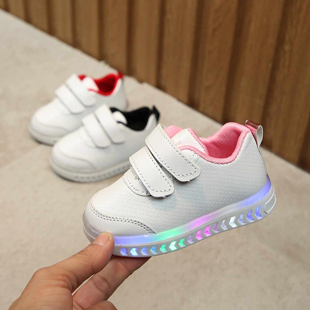 Kids sneakers Peuter Kids Kinderen Baby Gestreepte Schoenen LED Light Up Lichtgevende Sneakers chaussure enfant Meisje Jongen Witte Schoen 21 -30