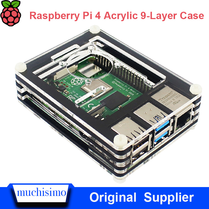 NEW 9-Layer Acrylic Case Cover Fan Enclosure Kit For Raspberry Pi 4 Model B 4B