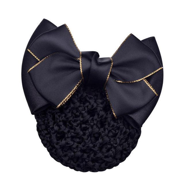 New Hair Clips Mesh Hair Rope Satin Bow Barrette Hair Clip Cover Bowknot Bun Snood Hair Accessories