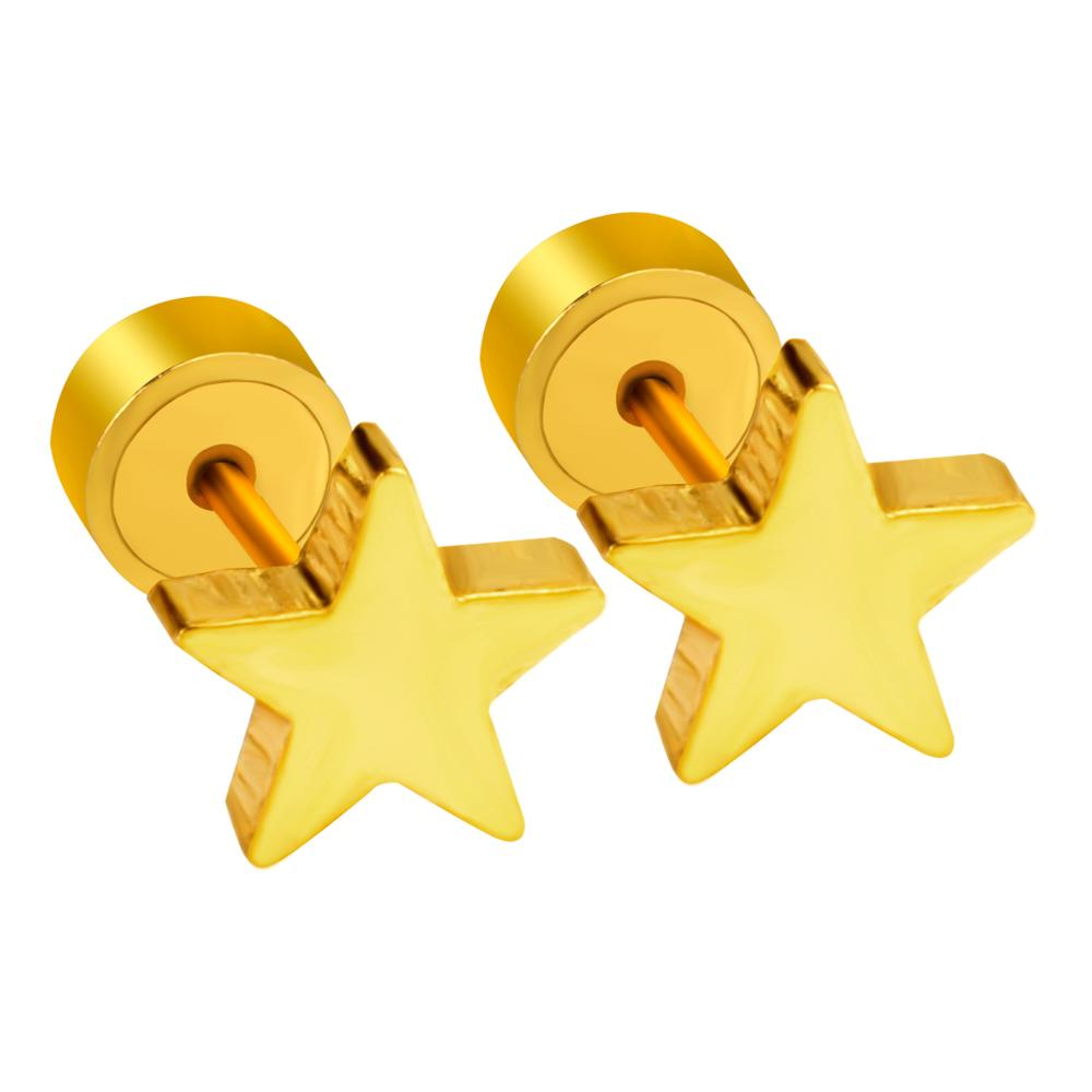 LUXUKISSKIDS Gold Star Small Stud Earrings para mujeres Fashion Jewelry Punk de acero inoxidable Kids Christmas Earring Earings brincos