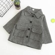 Шерстяное пальто для маленьких девочек, верхняя одежда весенние серые детские куртки в клетку зимняя одежда модная ветровка для детей от 2 до 5 лет