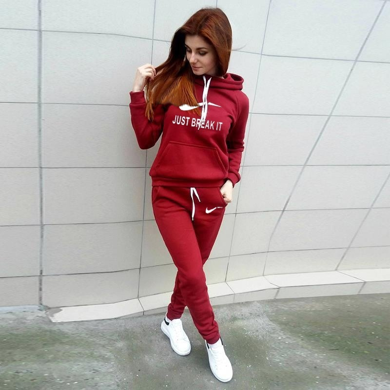 2 Piece Set Women Printed Hoodie Casual Tracksuit Suits Sweatshirt Sweatpants Autumn Winter Warm Clothes Jogging Set