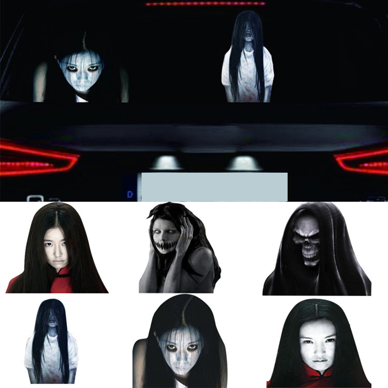 DIY Reflective Scary Horror Face Ghost Decor Car Rear Windows Stickers to Discourage High Beam Lights Users Car Styling Poster