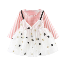 New Baby Girl Dress 0-3T New Autumn Toddler Girl Clothes Casual Lovely Sweet Children Star Printing Round Neck Long Sleeve Dress цены