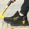 2020 новая дышащая сетчатая защитная обувь  мужские легкие кроссовки  несущественные  со стальным носком  мягкие  не пирсинг  рабочие ботинки  ...