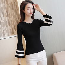 shintimes Black Striped White Women Sweater Ruched Slim High Elastic 2019 Fall Winter Vogue Flare Sleeve Casual Pullovers Femme