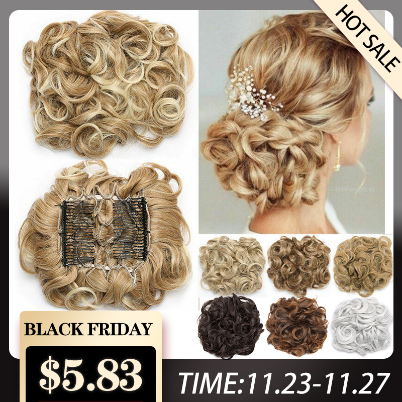 S-Noilite Hair-Bun Hairpiece-Extension Comb Chignon Updo-Cover Curly Clip-In LARGE