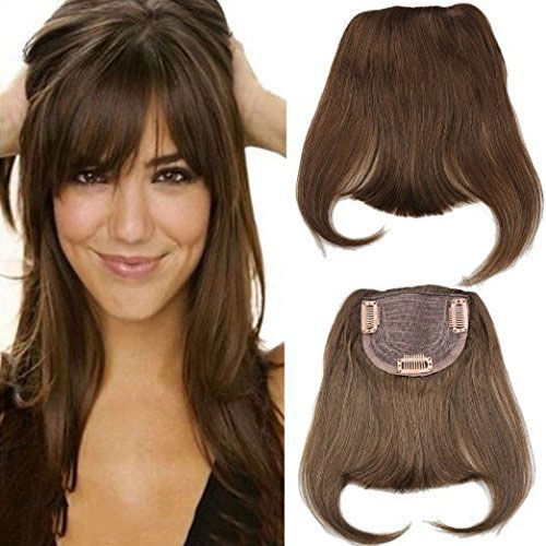 #4 Brazilian Human Hair Clip-in Hair Bang Full Fringe Short Straight Hair Extension For Women 6-8inch