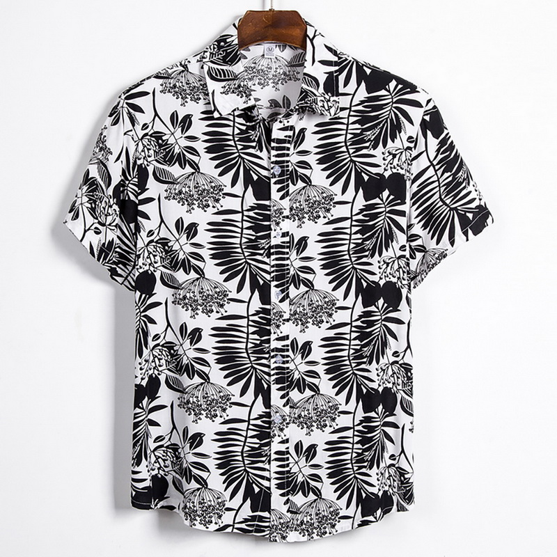 New Men Shirt Summer Men Hawaiian Printed Short-sleeve Shirts Hawaiian Casual Wild Loose Shirts Classic Button Tops