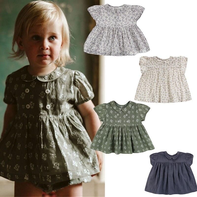 LCC Brand Kids Girls Floral T Shirt Sweet Mori Girl Short Sleeve Blouse LCC Child Peter Pan Collar Lovely Tops For Summer Brand