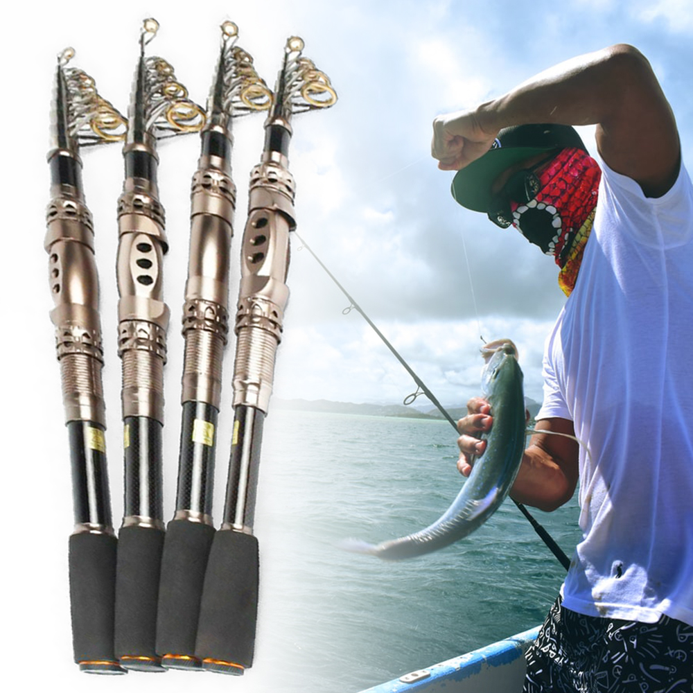 High Quality 1.8m Carbon Pole Portable Spinning Light Short Super Hard Telescopic Fish Pole Sea Fishing Rod 1 PC