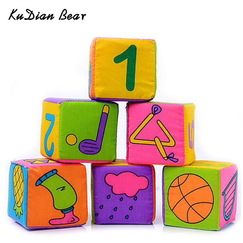 KUDIANBEAR 6pcs/Set Cloth Building Blocks Baby Early Educational Toys Infant Baby Cloth Doll Soft Rattle BC013 RP49