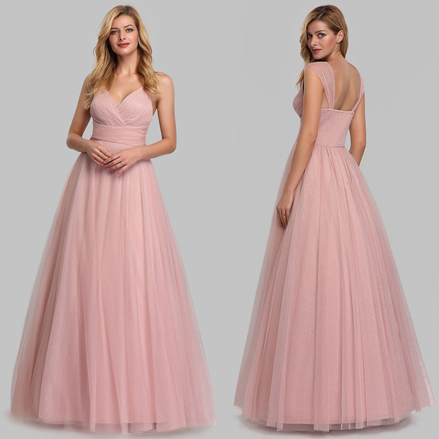 Evening Dress Long Elegant Side-Draped A-line V-neck with Straps Floor-length Sleeveless Evening Party Gowns Queen Abby 4