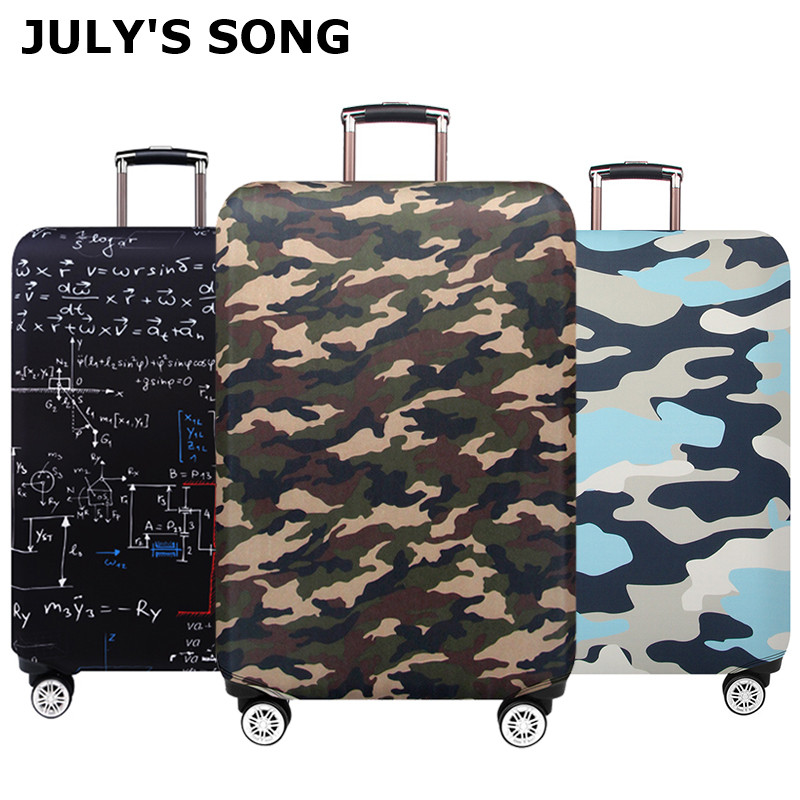 JULY'S SONG Camouflage Luggage Protective Cover Trolley Suitcase Cover Printing Protect Dust Bag 18-32inch Travel Accessories