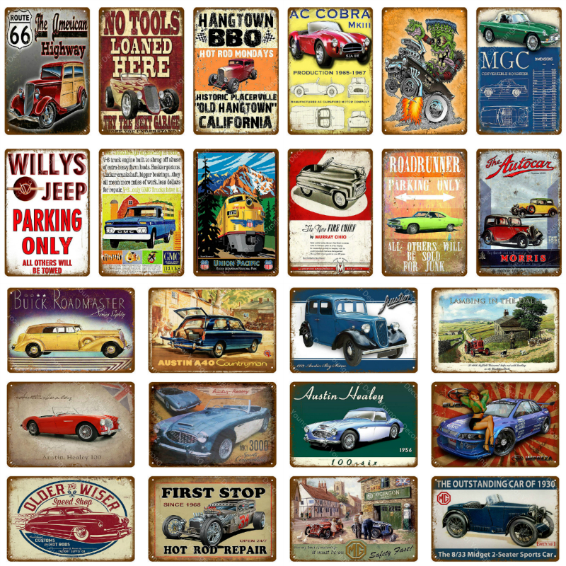 Old Fashion Sports Car Bus Metal Plaque Tin Signs Vintage Garage Metal Poster Sign Home Decoration Pub Bar Club Wall Decor