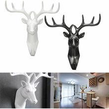 Animal Deer Stags Head Hook Wall Hanger Rack Holder Resin Home Decorative Mounted Coat Bag