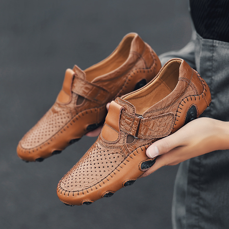 Heren Schoenen Chaussure Black Brown Genuine Leather Hollow Out Hand Sewing Driver Size 46 47 48 Men Shoe
