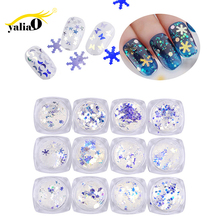 YALIAO 3D Laser 12 Styles Mixed Nail Art Decoration Cellophane Paper Glitter Sequins Shiny Star Flakes Diy Tool Ornament