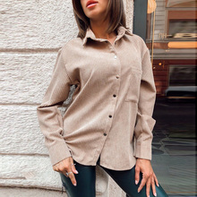 Women Casual Pockets Corduroy Velvet Blouse Long Sleeve Turn Down Collar Solid Office Lady