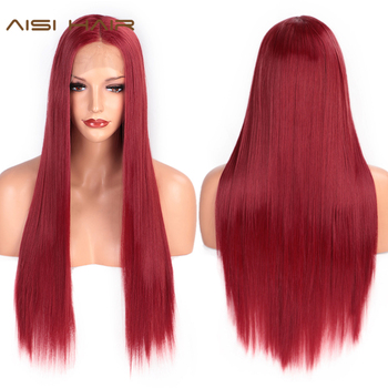 AISI HAIR Red Lace Front Wig Long Straight Synthetic Wigs for Black Women Heat Resistant Fiber Natural Wigs free shipping red hair kinky curly synthetic wig for black women 180 nsity lace front wigs heat resistant fiber