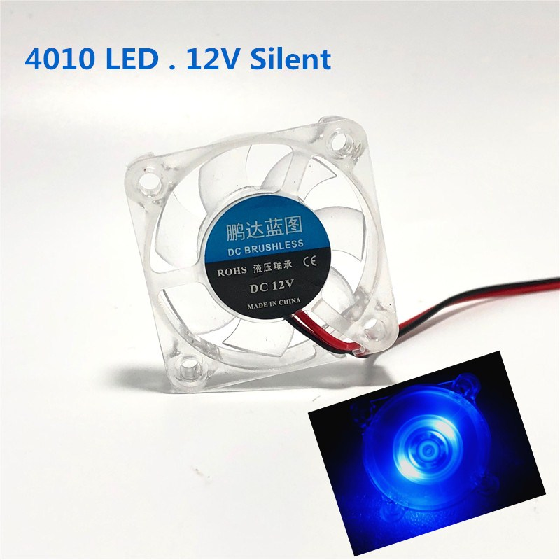 3D Printer Parts 4010 Cooling Fan 12V LED Lights 40mm Fan Silent 40x40x10mm Micro Cooling Fan 4CM Cooler Radiator