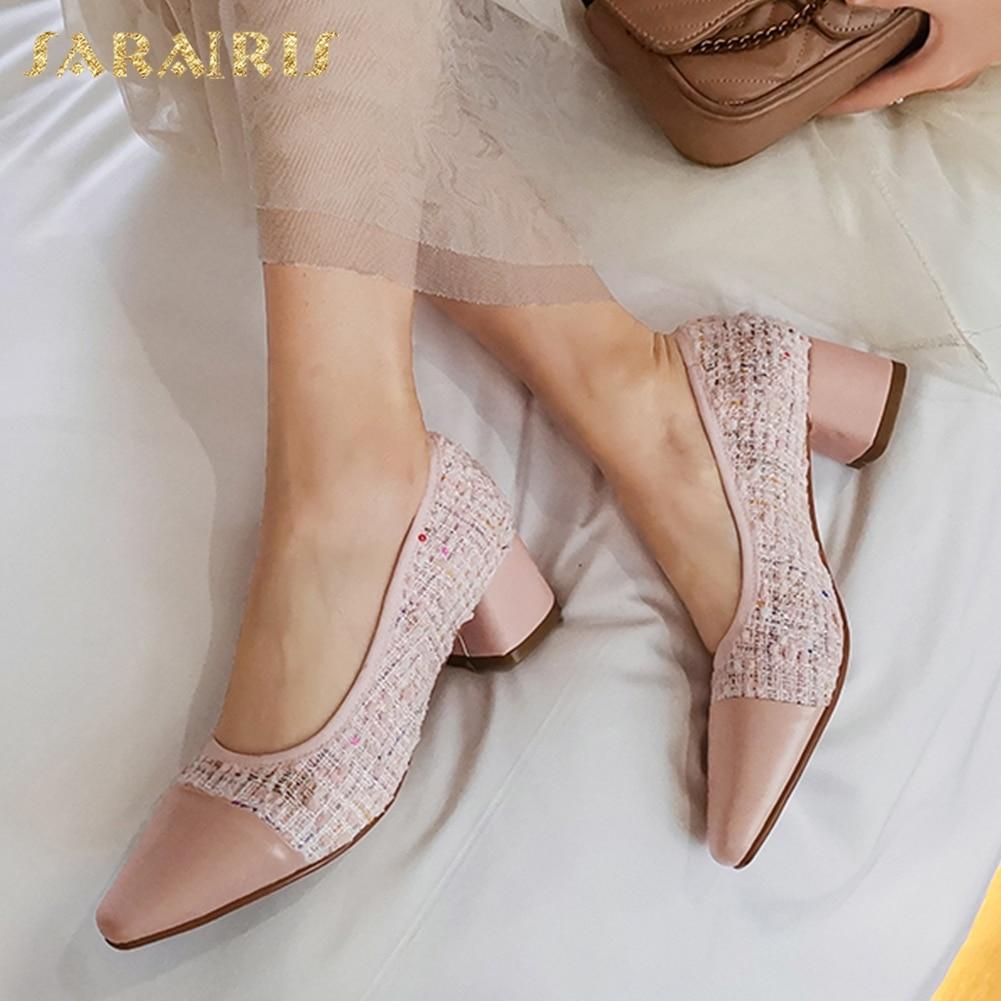 Sarairis mode nouveau Design véritable cuir de vache talons épais mélanger couleur chaussures femme pompes femme sans lacet bureau dame pompes femmes