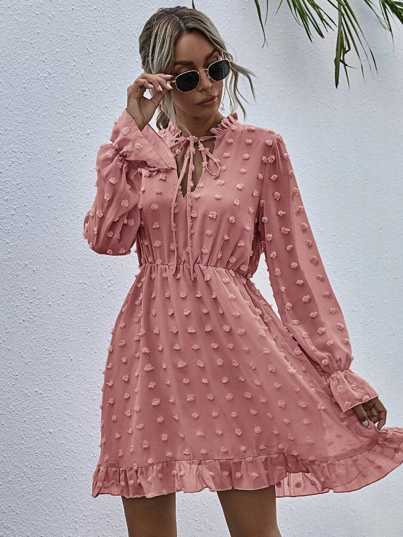 Women Pink Dress for Ladies Applique Chiffon Shirt Dress women Ruffled Neck Long Sleeve High Waist Mini Summer Dress Vestido 11