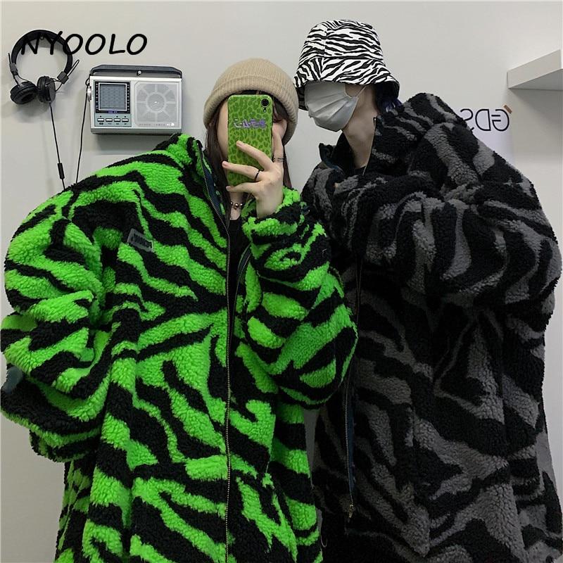NYOOLO 2020 Winter Streetwear Zebra Pattern Lamb Woolen Thicken Warm Zipper Hooded Padded Coats Women Men NYOOLO 2020 Winter Streetwear Zebra Pattern Lamb Woolen Thicken Warm Zipper Hooded Padded Coats Women Men Harajuku Loose Outwear