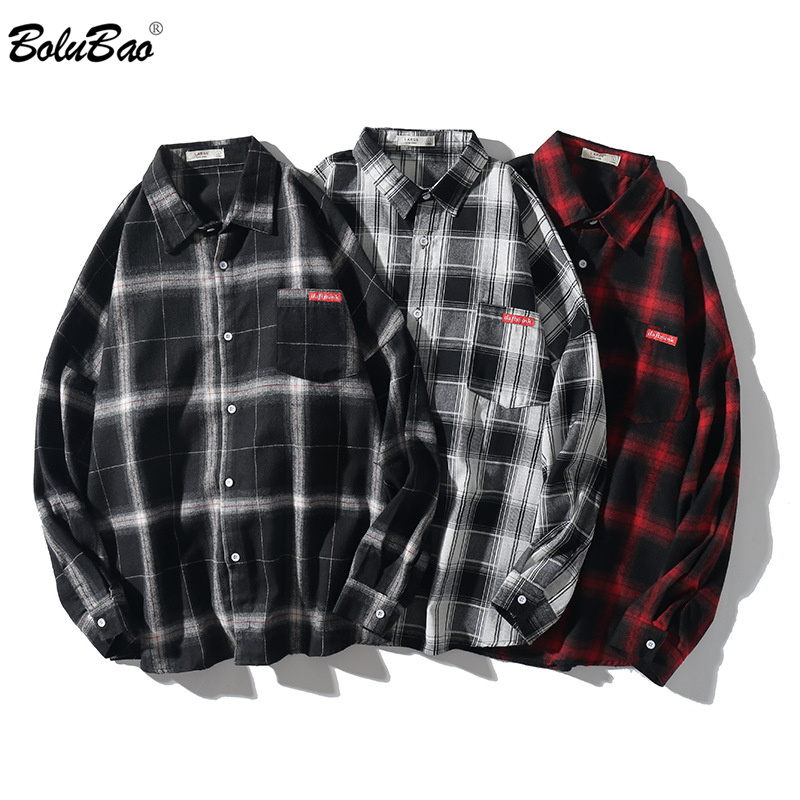 BOLUBAO Fashion Brand Men Casual Shirt Spring Autumn Men Harajuku Style Wild Plaid Shirt Coat Long Sleeve Shirts Male