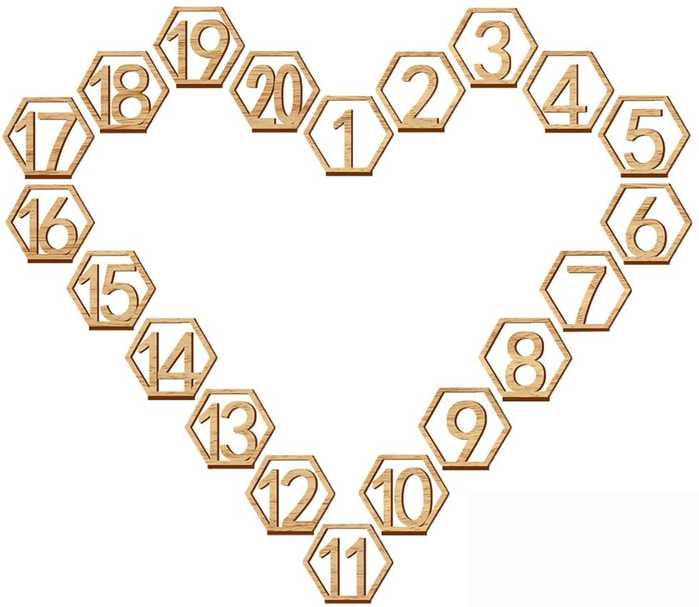 Wooden Table Number 1-20 Wedding Wood Table Numbers Hexagon Geometric Reception Stands Decor for Wedding Birthday Party Events