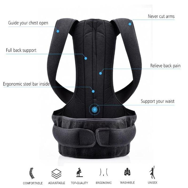 Adjustable Black Back Posture Corrector Shoulder Lumbar Spine Brace Support Belt Health Care for Men Women Unisex 1