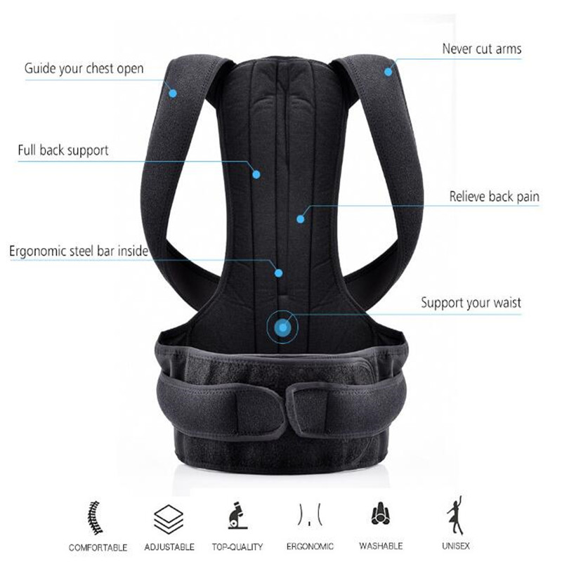 Adjustable Black Back Posture Corrector with Lumbar Spine Support
