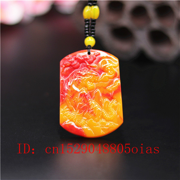 Natural Red Yellow Jade Stone Tiger Pendant Beads Necklace Chinese Jadeite Jewelry Charm Carved Amulet Gifts For Women Men