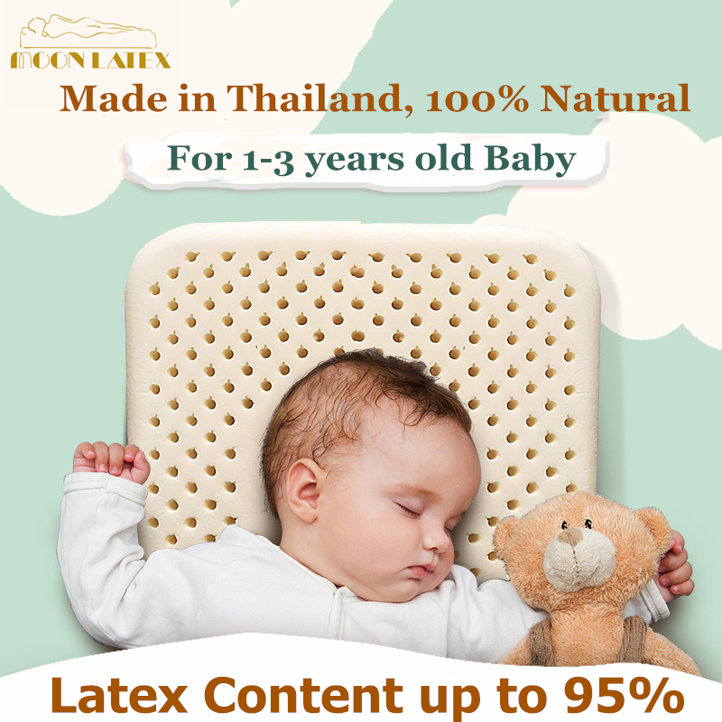 Moonlatex Thailand 100 Natural Baby Latex Pillow Newborn Infant Neck Cervical Spine Quality Kids Protective Head Children