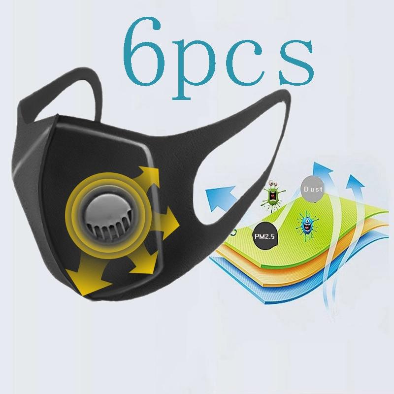 6 Pcs Men Women Anti Dust Mask Filter Anti PM2.5 Air Pollution Face Mouth Mask  Carbon Washable Reusable Dropshipping