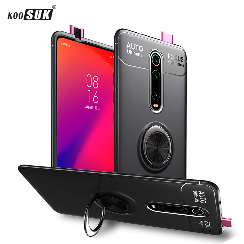 Case For Xiaomi Mi 9T mi9t Case Redmi K20 Pro Back Cover Soft Silicon Case Car Bracket Shockproof Rotate Ring Stand Phone Casing image
