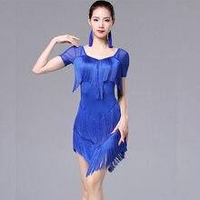 Mujer borla baile latino de moda vestido de baile latino para las mujeres dama estándar internacional de Cha bailar Salsa vestidos